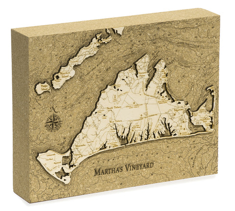 "Martha's Vineyard Cork Map, 8"" x 10"""