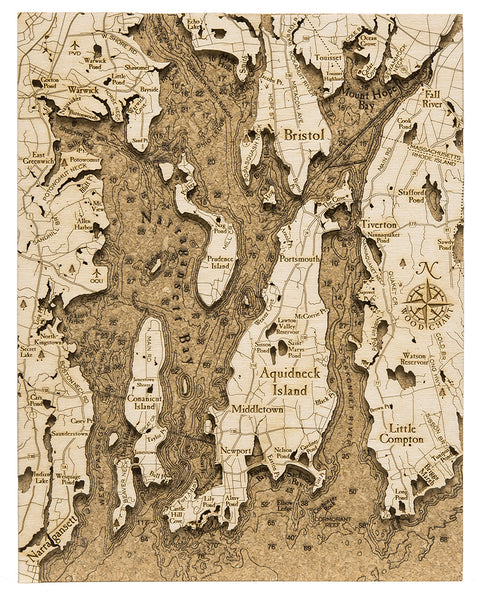"Narragansett Bay Cork Map, 8"" x 10"""