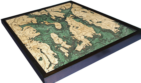 "Narragansett / Newport, Rhode Island 3-D Nautical Wood Chart, Large, 24.5"" x 31"""
