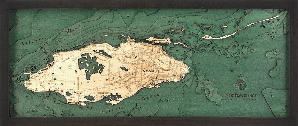 "Nassau, Bahamas 3-D Nautical Wood Chart, Medium, 13.5"" x 31"""