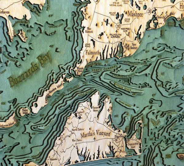"Cape Cod, Massachusetts 3-D Nautical Wood Chart, Large, 24.5"" x 31"""
