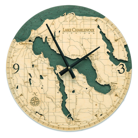 "Lake Charlevoix Clock, 12"" Diameter"