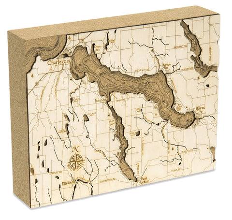 "Lake Charlevoix Cork Map, 8"" x 10"""