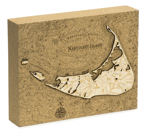 "Nantucket Cork Map, 8"" x 10"""