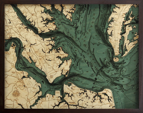 "Norfolk, Virginia 3-D Nautical Wood Chart, Large, 24.5"" x 31"""