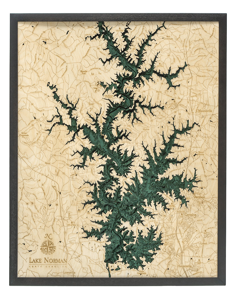 "Lake Norman, North Carolina 3-D Nautical Wood Chart, Large, 24.5"" x 31"""