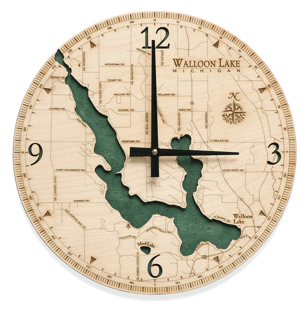 "Walloon Lake Clock, 12"" Diameter"