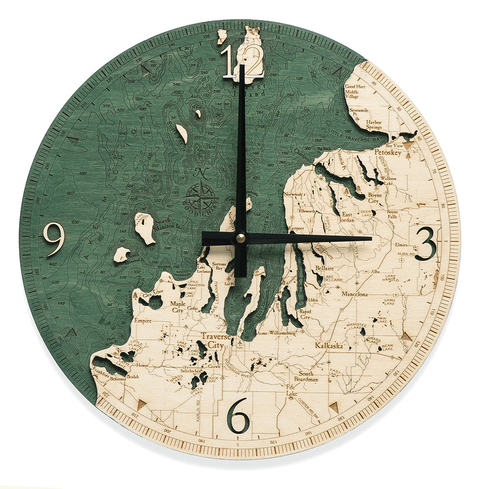 "Northwest Lower Michigan Clock, 12"" Diameter"