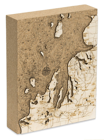 "Northwest Lower Michigan Cork Map, 8"" x 10"""