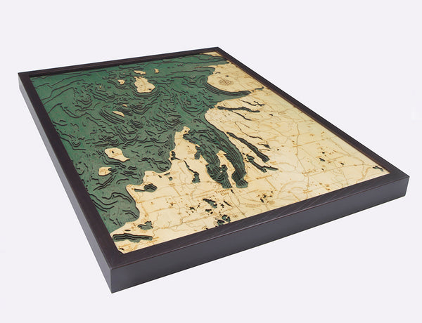 "Northwest Lower Michigan 3-D Nautical Wood Chart, Large, 24.5"" x 31"""