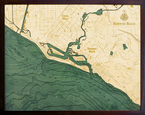 "Newport Beach, California 3-D Nautical Wood Chart, Large, 24.5"" x 31"""