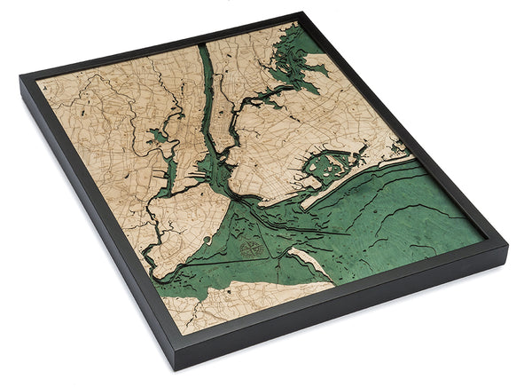 "5 Boroughs of New York 3-D Nautical Wood Chart, Large, 24.5"" x 31"""