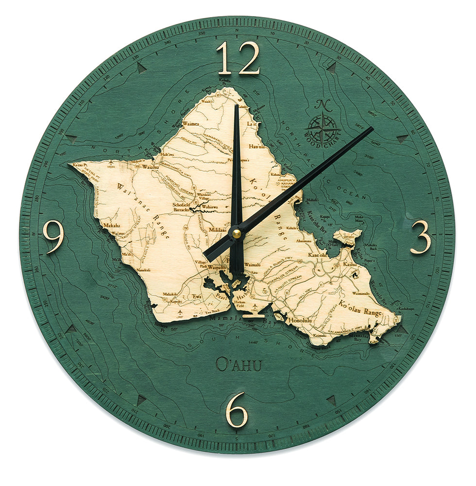 "Oahu Clock, 12"" Diameter"