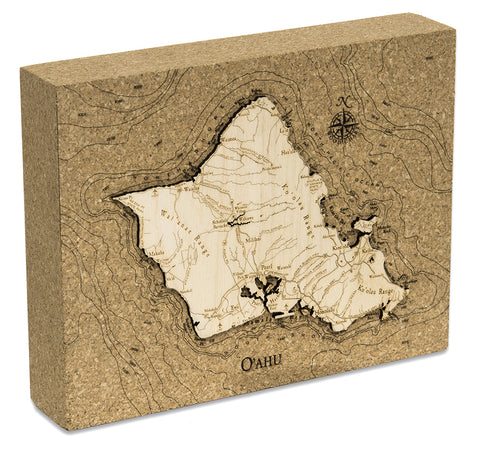 "Oahu Cork Map, 8"" x 10"""