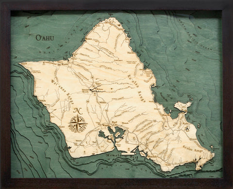 "Oahu, Hawaii 3-D Nautical Wood Chart, Small, 16"" x 20"""