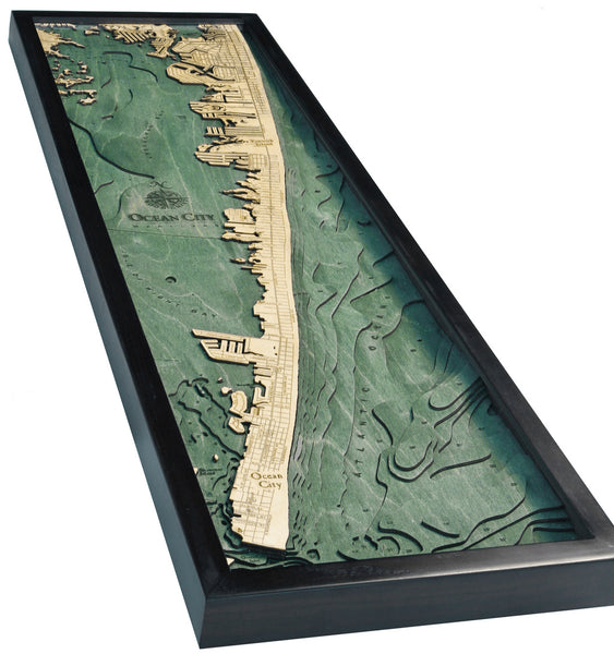 "Ocean City, Maryland 3-D Nautical Wood Chart, Narrow, 13.5"" x 43"""