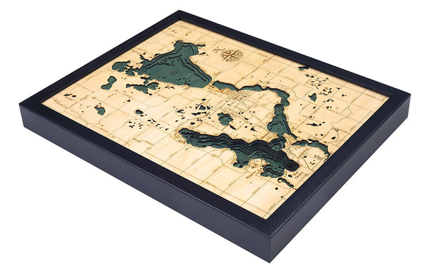 "Lake Okoboji / Spirit Lake, Iowa 3-D Nautical Wood Chart, Small, 16"" x 20"""