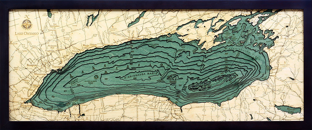 "Lake Ontario 3-D Nautical Wood Chart, Medium, 13.5"" x 31"""