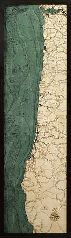 "Oregon Coast 3-D Nautical Wood Chart, Narrow, 13.5"" x 43"""
