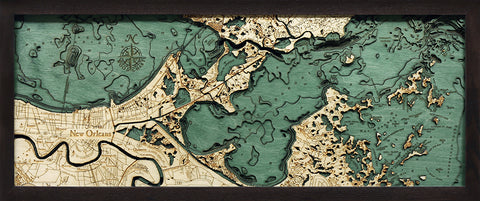 "New Orleans, Louisiana 3-D Nautical Wood Chart, Medium, 13.5"" x 31"""