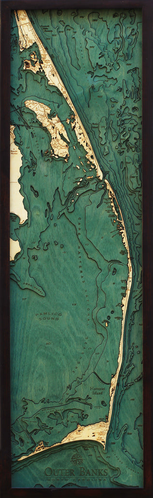 "Outer Banks, North Carolina 3-D Nautical Wood Chart, Narrow, 13.5"" x 43"""