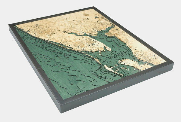"Charlotte Harbor, Florida 3-D Nautical Wood Chart, Large, 24.5"" x 31"""