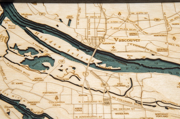"Portland, Oregon 3-D Nautical Wood Chart, Medium, 13.5"" x 31"""