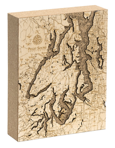 "Puget Sound Cork Map, 8"" x 10"""