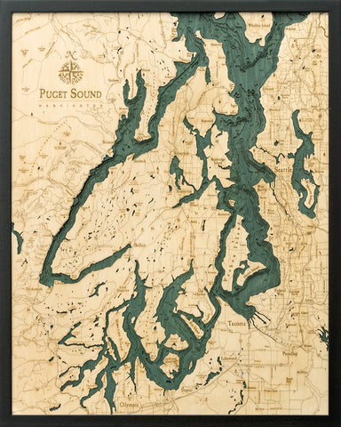 "Puget Sound, Washington 3-D Nautical Wood Chart, Large, 24.5"" x 31"""