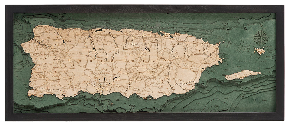 "Puerto Rico 3-D Nautical Wood Chart, Medium, 13.5"" x 31"""