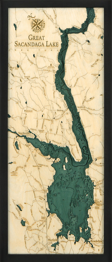 "Great Sacandaga Lake 3-D Nautical Wood Chart, Medium, 13.5"" x 31"""