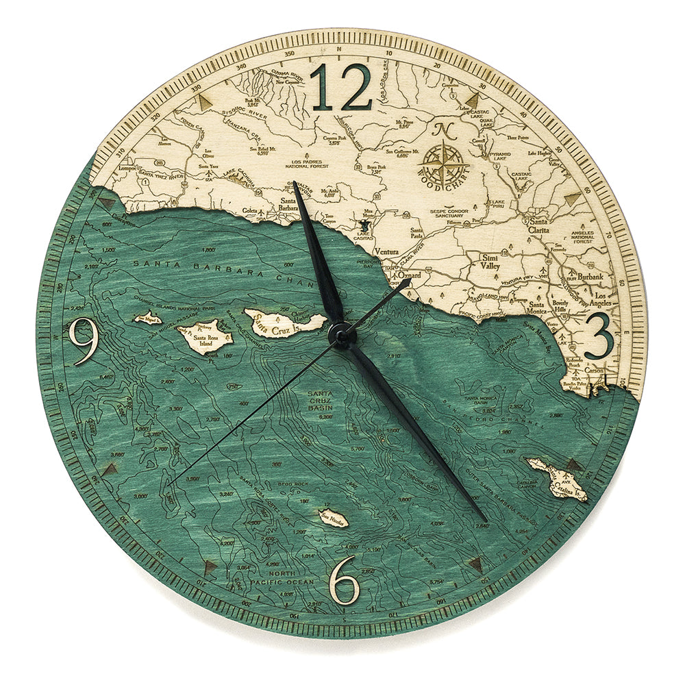 "Santa Barbara / Channel Islands, California Clock, 12"" Diameter"