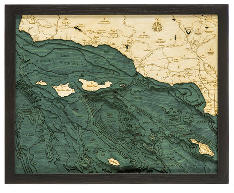 "Santa Barbara/Channel Islands 3-D Nautical Wood Chart, Small, 16"" x 20"""
