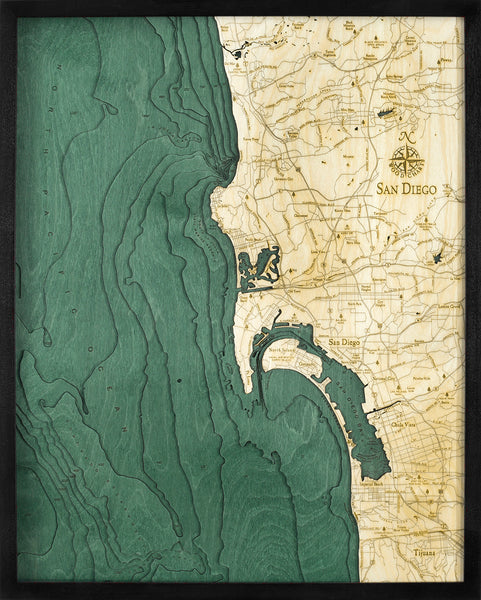 "San Diego, California 3-D Nautical Wood Chart, Large, 24.5"" x 31"""