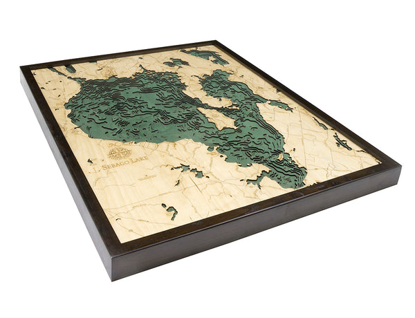 "Sebago Lake, Maine 3-D Nautical Wood Chart, Large, 24.5"" x 31"""