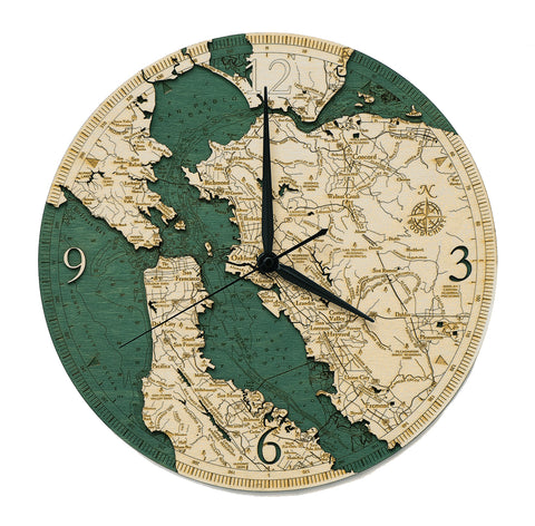 "San Francisco Bay Clock, 12"" Diameter"