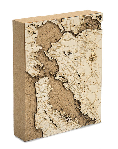"San Francisco Bay Cork Map, 8"" x 10"""