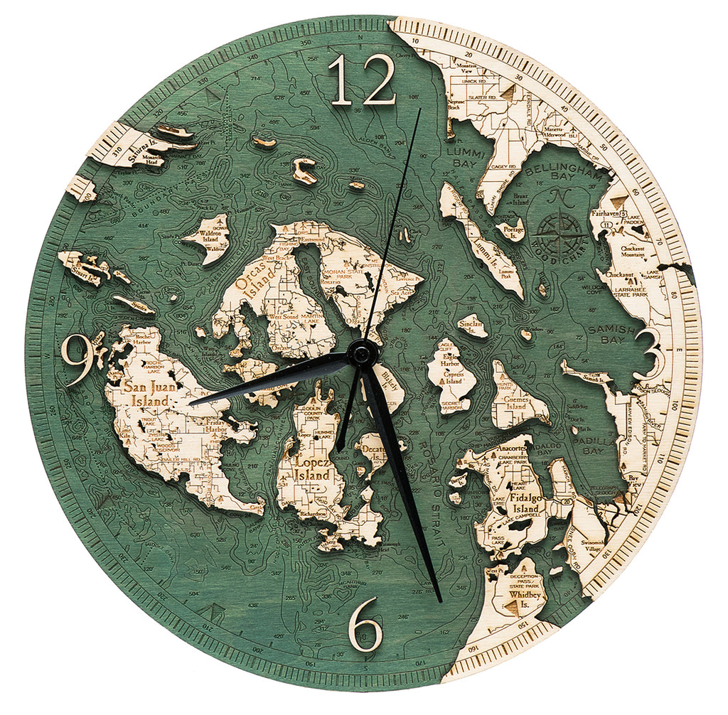 "San Juan Islands Clock, 12"" Diameter"