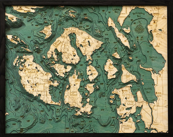 "San Juan Islands, Washington 3-D Nautical Wood Chart, Large, 24.5"" x 31"""