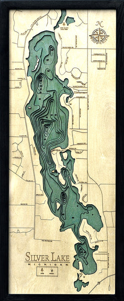 "Silver Lake (Traverse), Michigan 3-D Nautical Wood Chart, Medium, 13.5"" x 31"""
