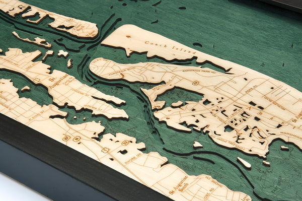 "St. Augustine, Florida 3-D Nautical Wood Chart, Narrow, 13.5"" x 43"""