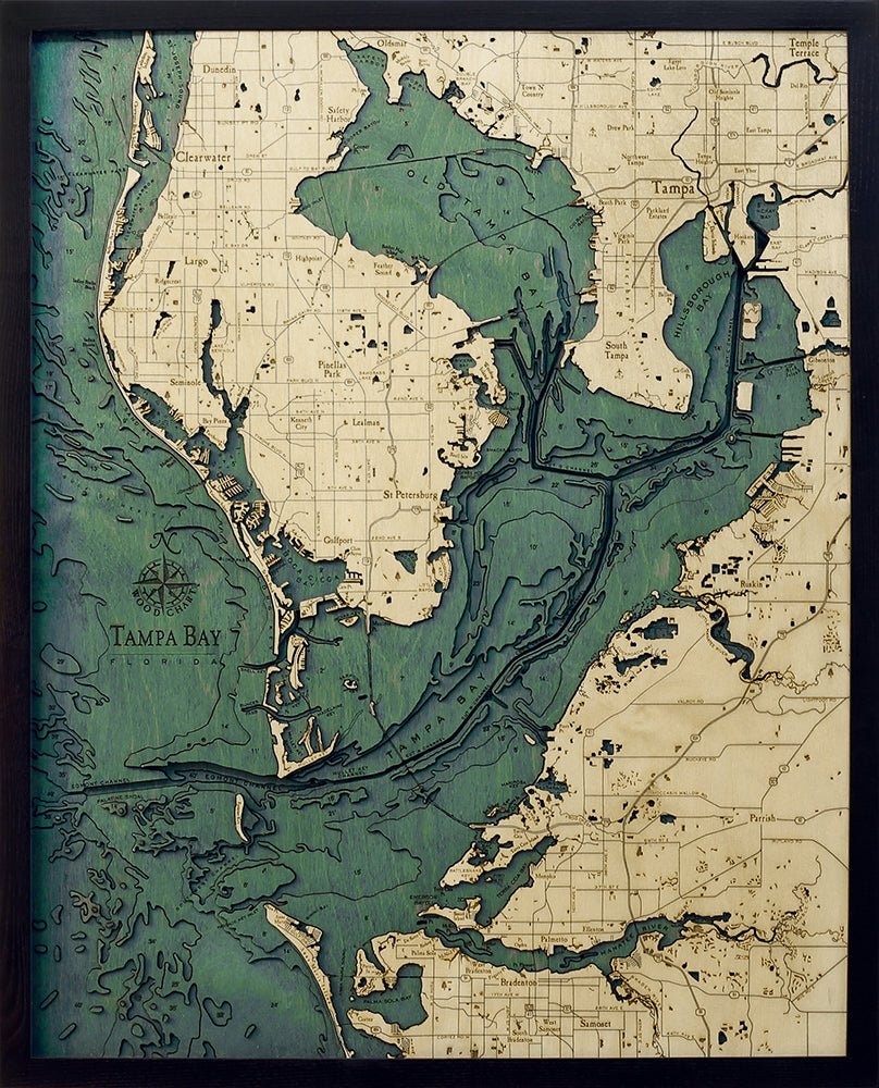 "Tampa Bay, Florida 3-D Nautical Wood Chart, Large, 24.5"" x 31"""