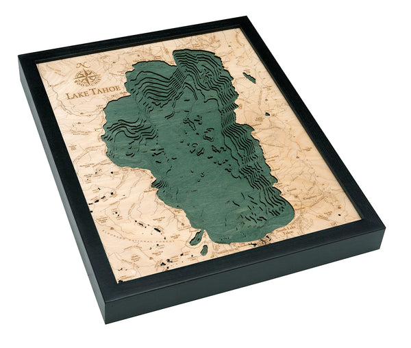 "Lake Tahoe 3-D Nautical Wood Chart, Small, 16"" x 20"""