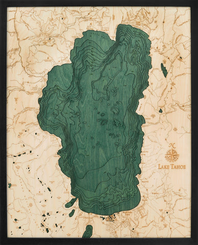 "Lake Tahoe 3-D Nautical Wood Chart, Large, 24.5"" x 31"""