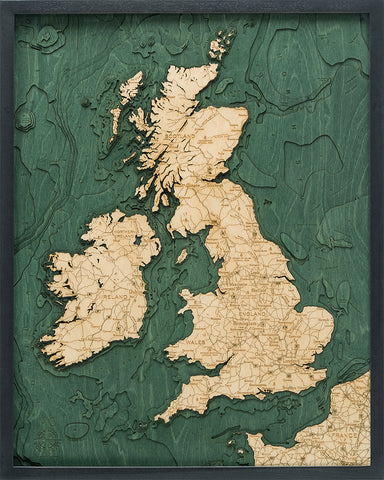 "United Kingdom 3-D Nautical Wood Chart, Large, 24.5"" x 31"""