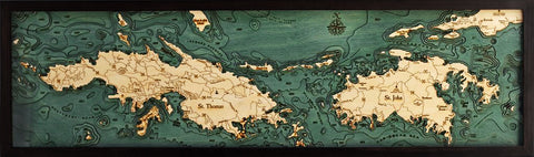 "St. Thomas / St. John, U.S. Virgin Islands 3-D Nautical Wood Chart, Narrow, 13.5"" x 43'"