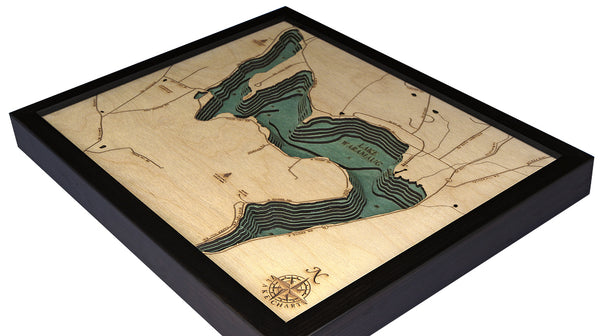 "Lake Waramaug, Connecticut 3-D Nautical Wood Chart, Small, 16"" x 20"""