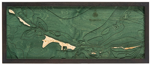 "Walker's Cay 3-D Nautical Wood Chart, Medium, 13.5"" x 31"""