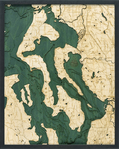 "Whidbey and Camano Islands 3-D Nautical Wood Chart, Large, 24.5"" x 31"""