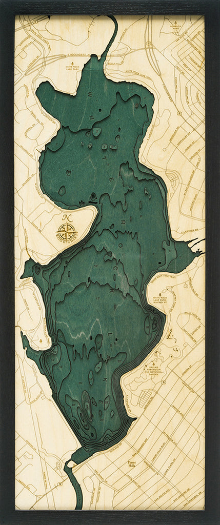 "White Rock Lake, Texas 3-D Nautical Wood Chart, Medium, 13.5"" x 31"""